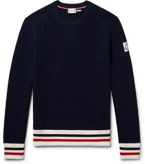 Moncler Gamme Bleu Stripe-Trimmed Waffle-Knit Cotton Sweater