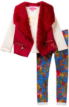 Betsey Johnson Heart Tee, Faux Fur Lined Faux Suede Vest & Floral Knit Denim Jegging Set (Toddler Girls)