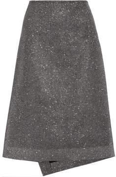 Cédric Charlier Textured-lamé Midi Skirt - Silver
