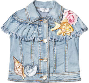 MonnaLisa Blue Embroidered Seaside Fringe Sleeveless Denim Jacket