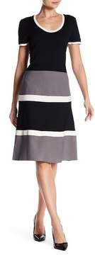 Anne Klein Colorblock Fit & Flare Dress