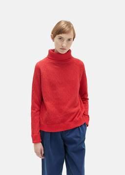 Blue Blue Japan Rope Jacquard Turtleneck Sweater Red Size: Medium