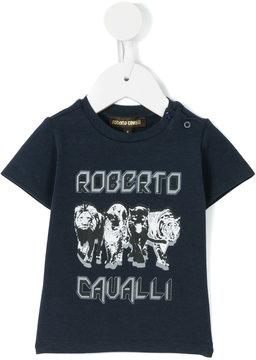 Roberto Cavalli big cat print logo T-shirt