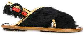 Marni crossover fur sandals