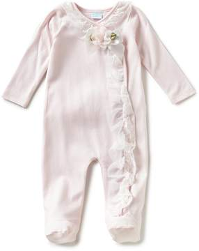 Edgehill Collection Baby Girl Newborn-6 Months Ruffled Floral-Applique Footed Coverall