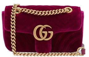 Gucci Gg Marmont Mini Quilted Velvet Cross Body Bag - Womens - Purple