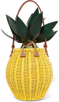Kayu Colada Leather-trimmed Wicker Tote - Yellow