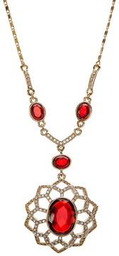 Carolee Pave Openwork Flower Pendant Necklace