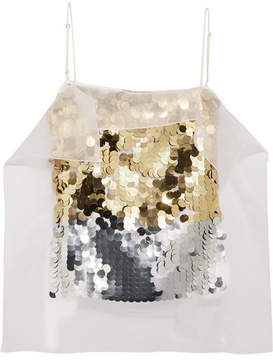 Christopher Kane Sequined Organza And Hammered Silk-satin Top - Gold