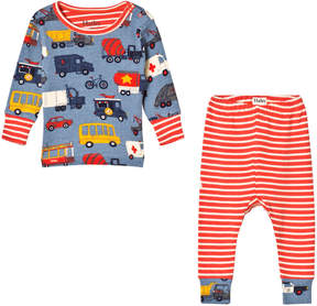 Hatley Blue And Red Rush Hour Long Sleeve Mini Pajama Set