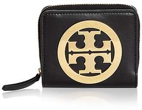 Tory Burch Charlie Mini Leather Bi-Fold Wallet - BLACK/GOLD - STYLE