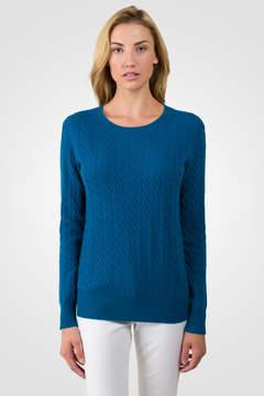 J CASHMERE Peacock Blue Cashmere Cable-knit Crewneck Sweater