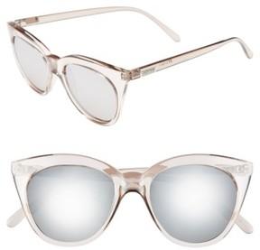 Le Specs Women's Halfmoon Magic 51Mm Cat Eye Sunglasses - Stone/ Silver Mirror