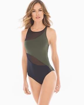 Bleu Rod Beattie Don't Mesh With Me High Neck One Piece Swimsuit Amazon Green/Black
