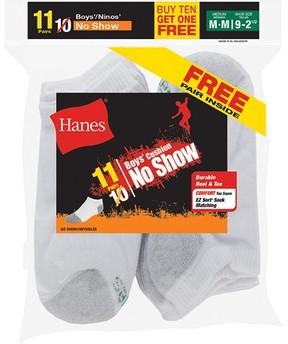 Hanes Boys' No Show Sock, 10 Pack Plus 1 Bonus