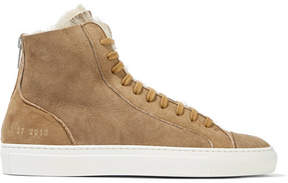 Common Projects Tournament Suede And Shearling High-top Sneakers - Light brown