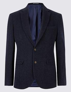 Marks and Spencer Navy Wool Rich Italian Fabric Jacket