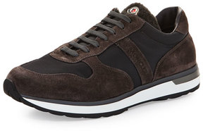Moncler Suede & Nylon Trainer Sneaker w/Shearling Tongue, Gray/Brown