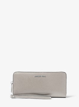 Michael Kors Jet Set Travel Saffiano Leather Continental Wallet - GREY - STYLE