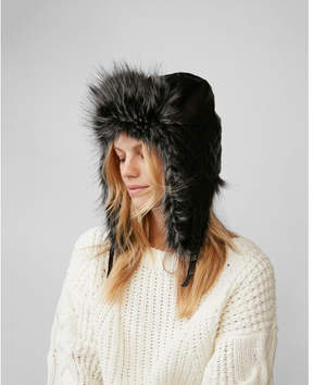 Express quilted faux fur trapper hat