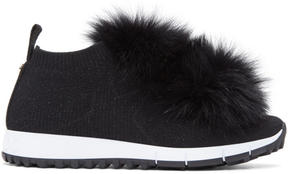Jimmy Choo Black Norway Pom Pom Sneakers