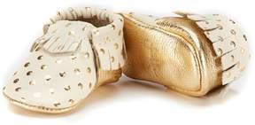 Freshly Picked Girls' Soft Soled Metallic Leather Polka Dot Moccasin Crib Shoe