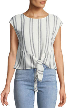 Astr Angelica Striped Tie-Front Blouse