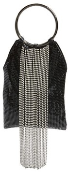 Whiting & Davis Cascade Crystal Fringe Mesh Bracelet Bag - Black