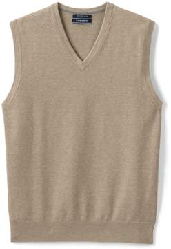 Lands' End Lands'end Men's Tall Fine Gauge Supima Cotton Sweater Vest