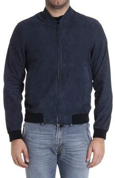 Herno Men's Blue Leather Outerwear Jacket.