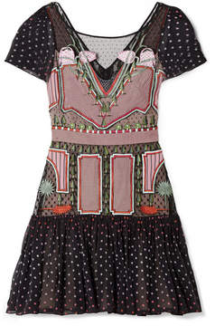 Temperley London Bourgeois Silk Chiffon-paneled Embroidered Point D'esprit Mini Dress - Black