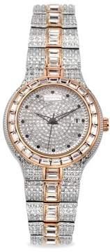 Croton Men's Two Tone Austrian Crystal Quartz Watch with Baguette Crystal Bezel & Bracelet