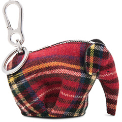 Loewe Elephant Keychain in Red,Checkered & Plaid.