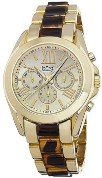 Burgi Multi-Function Gold-tone Dial and Tortoise-shell Resin Ladies Watch