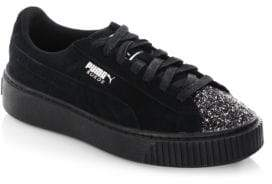 Puma Glittered Suede Low Top Sneakers