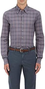 Isaia Men's Plaid Cotton Madras Button-Down Shirt