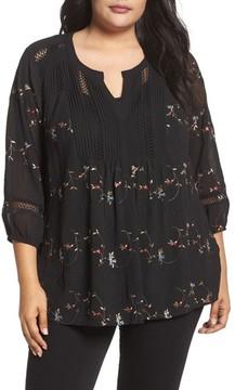 Daniel Rainn Plus Size Women's Floral Embroidered Top