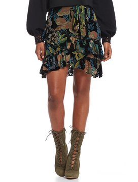 Chelsea & Violet Burnout Velvet Ruffle Skirt