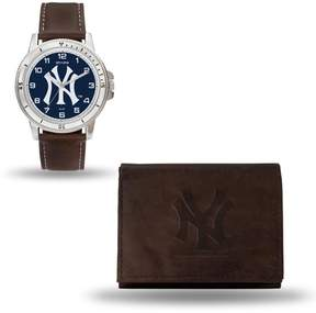 Rico MLB Team Logo Watch and Wallet Combo Gift Set in Brown - Yankees