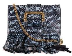 Roberto Cavalli Blue Black Snake Embossed Leather Fringe Shoulder Bag