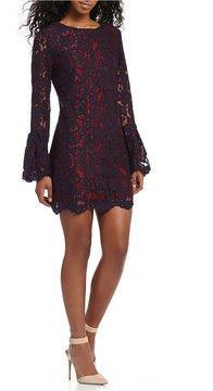 WAYF Merrick Lace Bell Sleeve Shift Dress