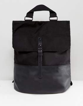 Asos Backpack With Faux Leather Base And Front Strap In Black