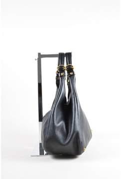 Loewe Pre-owned Black Gold Tone Textured Leather Padlock Hobo Shoulder Bag.
