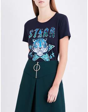 Claudie Pierlot Tiger-print cotton T-shirt