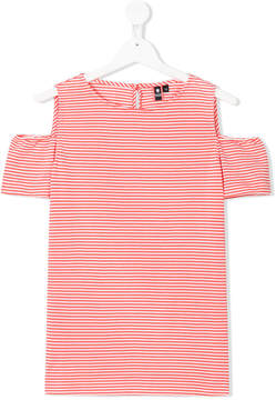 European Culture Kids TEEN cold-shoulder striped dress