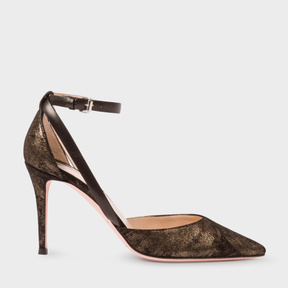 Paul Smith Women's Black And Gold Suede 'Naomi' Shoes