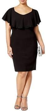 Betsy & Adam Plus Size Lace Trim Overlay Sheath Dress.