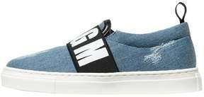 MSGM Destroyed Denim Slip-On Sneakers