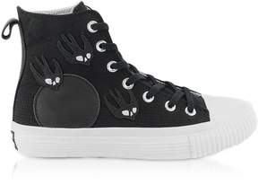McQ Black Canvas High Top Sneakers w/Swallow Patches
