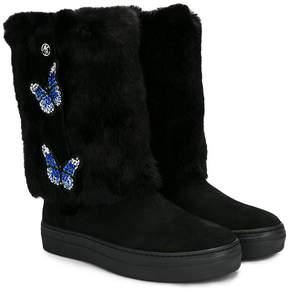 Miss Blumarine Teen butterfly detail faux fur boots